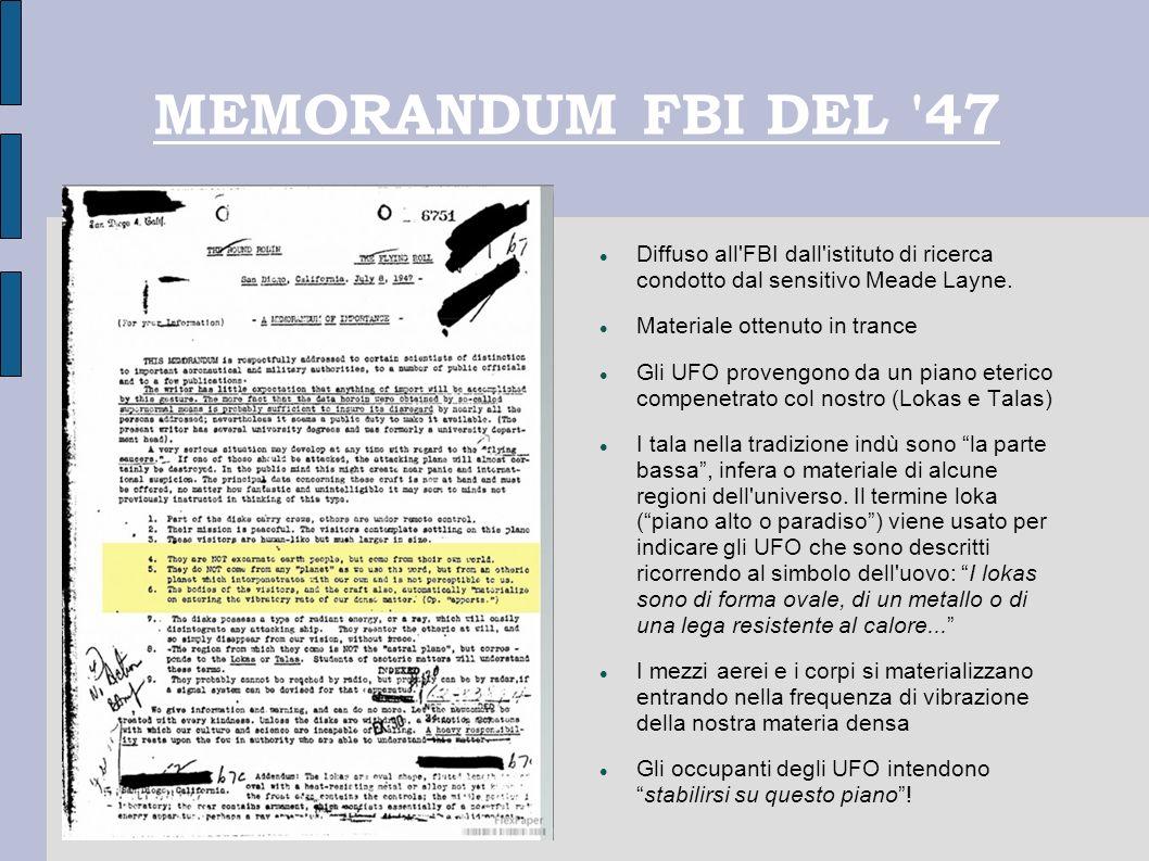 MEMORANDUM FBI DEL 47 Diffuso all FBI dall istituto di ricerca condotto dal sensitivo Meade Layne.