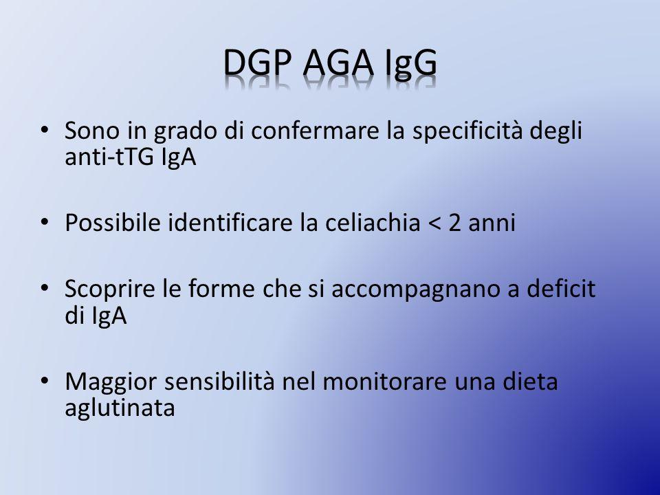 DGP AGA IgG Sono in grado di confermare la specificità degli anti-tTG IgA. Possibile identificare la celiachia < 2 anni.
