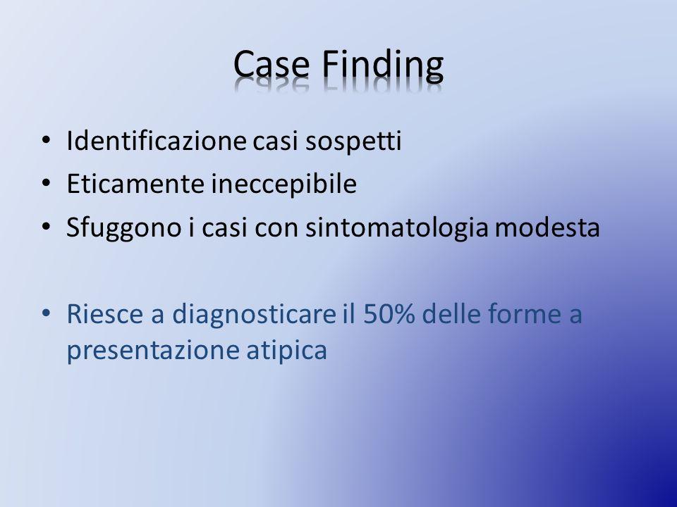 Case Finding Identificazione casi sospetti Eticamente ineccepibile