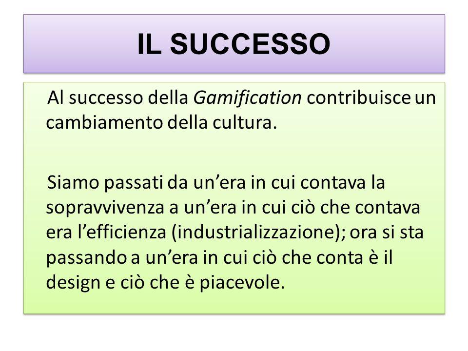IL SUCCESSO Al successo della Gamification contribuisce un cambiamento della cultura.