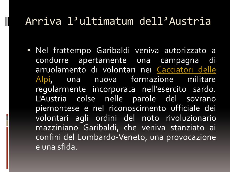 Arriva l'ultimatum dell'Austria