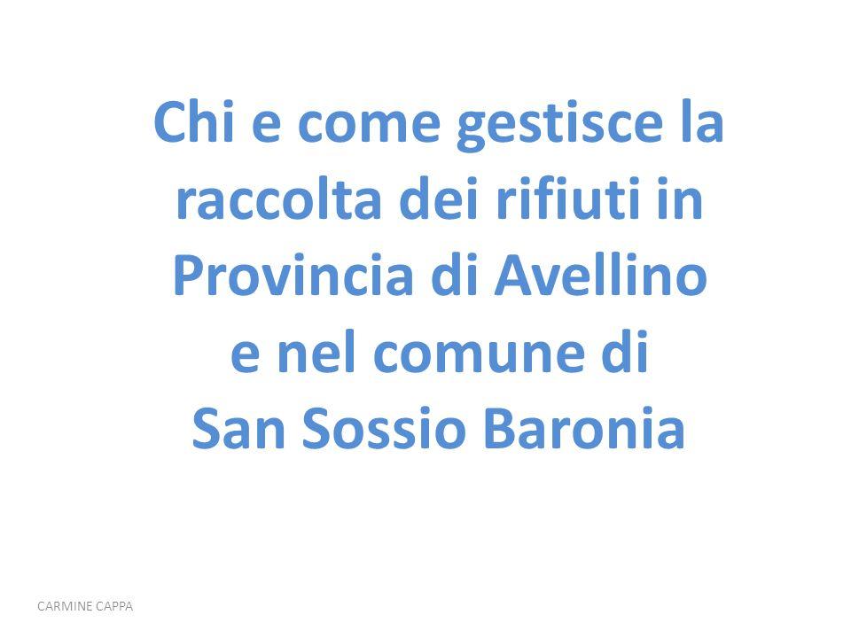 Chi e come gestisce la raccolta dei rifiuti in Provincia di Avellino e nel comune di San Sossio Baronia