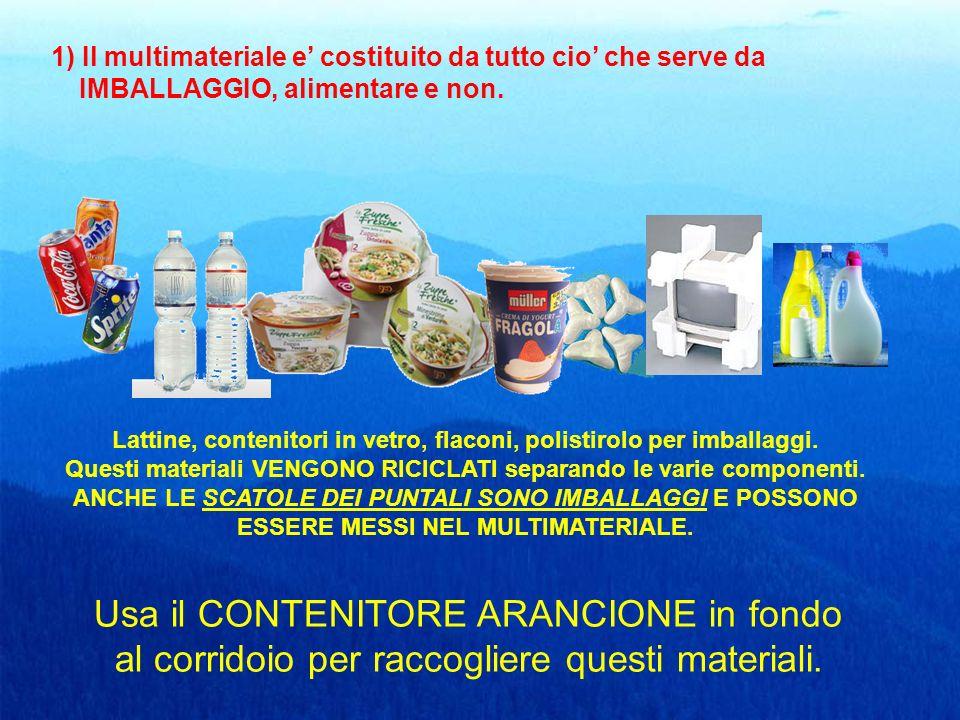 1) Il multimateriale e' costituito da tutto cio' che serve da IMBALLAGGIO, alimentare e non.