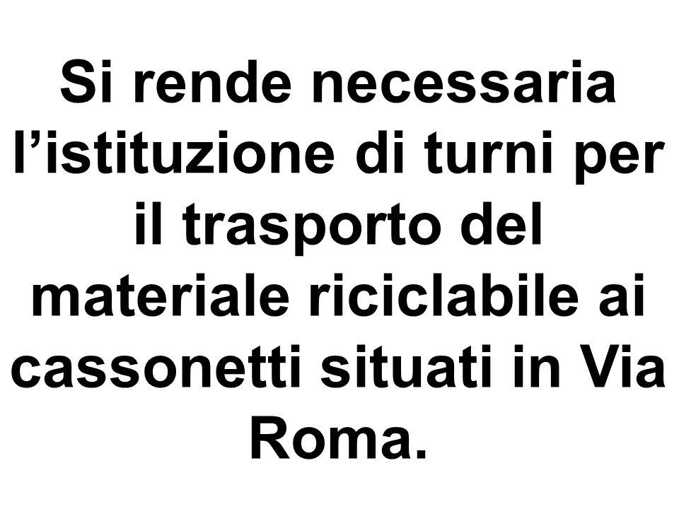 Si rende necessaria l'istituzione di turni per il trasporto del materiale riciclabile ai cassonetti situati in Via Roma.