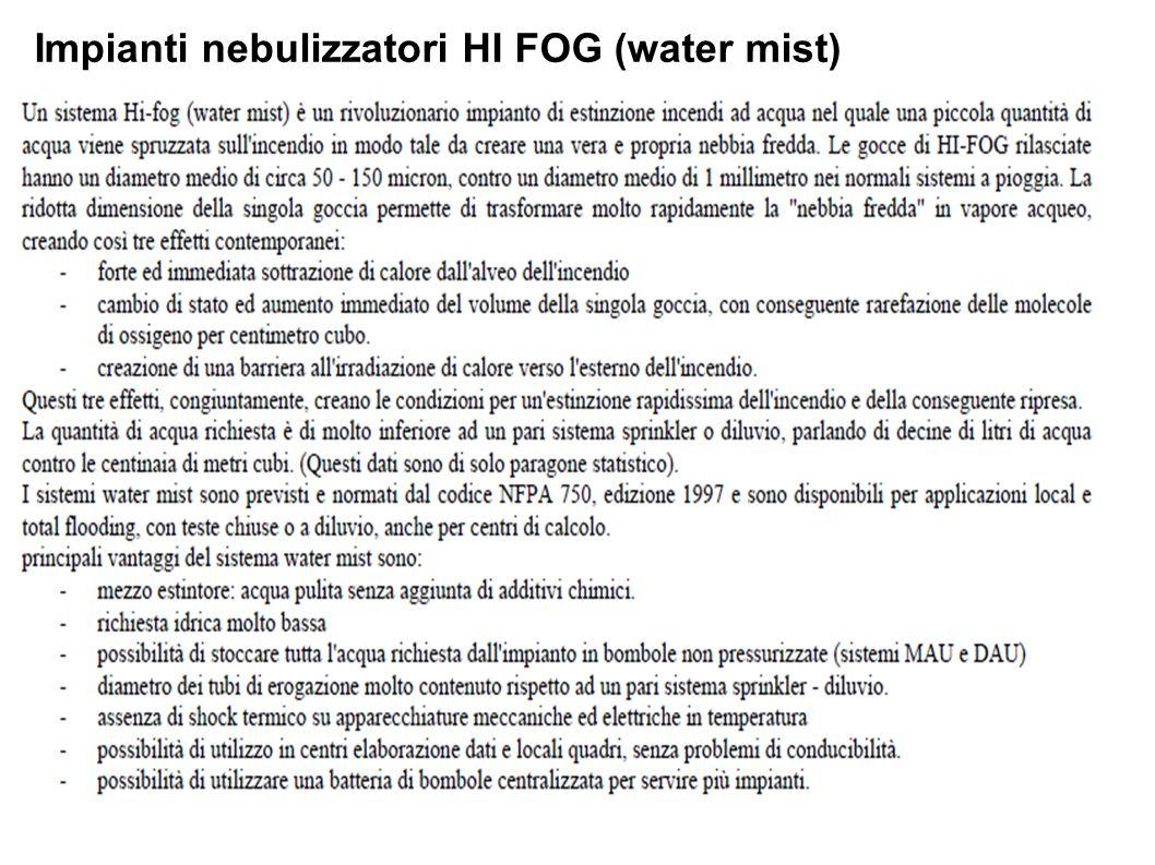 Impianti nebulizzatori HI FOG (water mist)