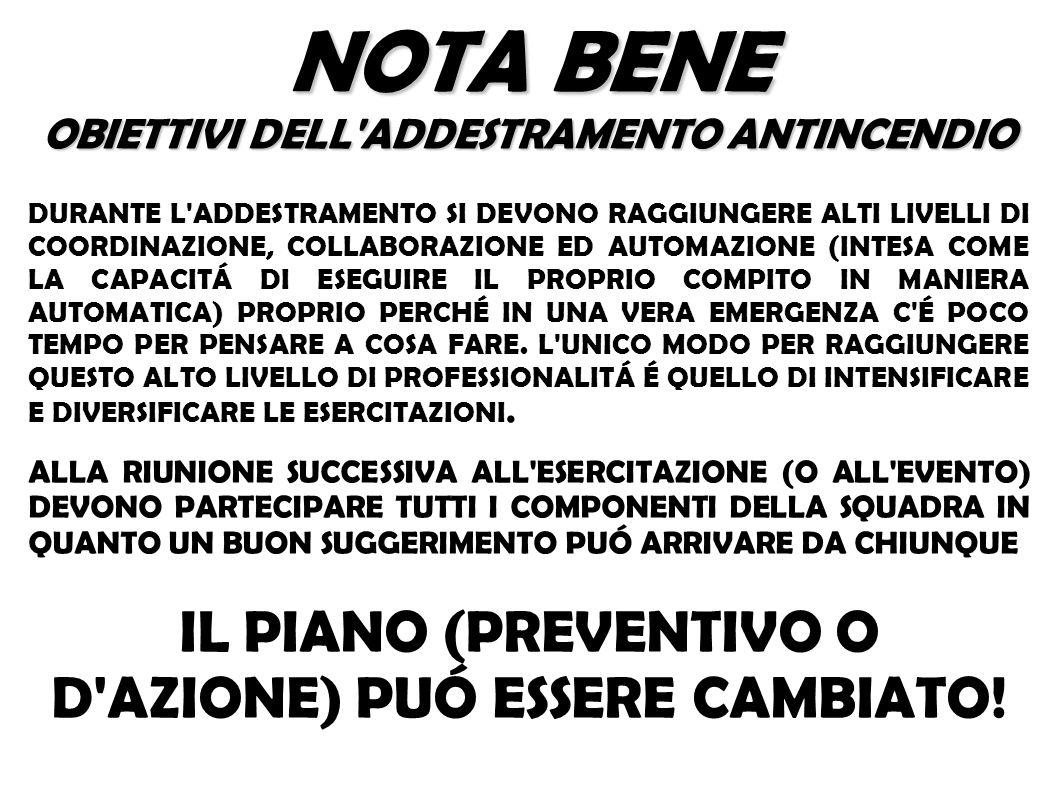 NOTA BENE IL PIANO (PREVENTIVO O D AZIONE) PUÓ ESSERE CAMBIATO!