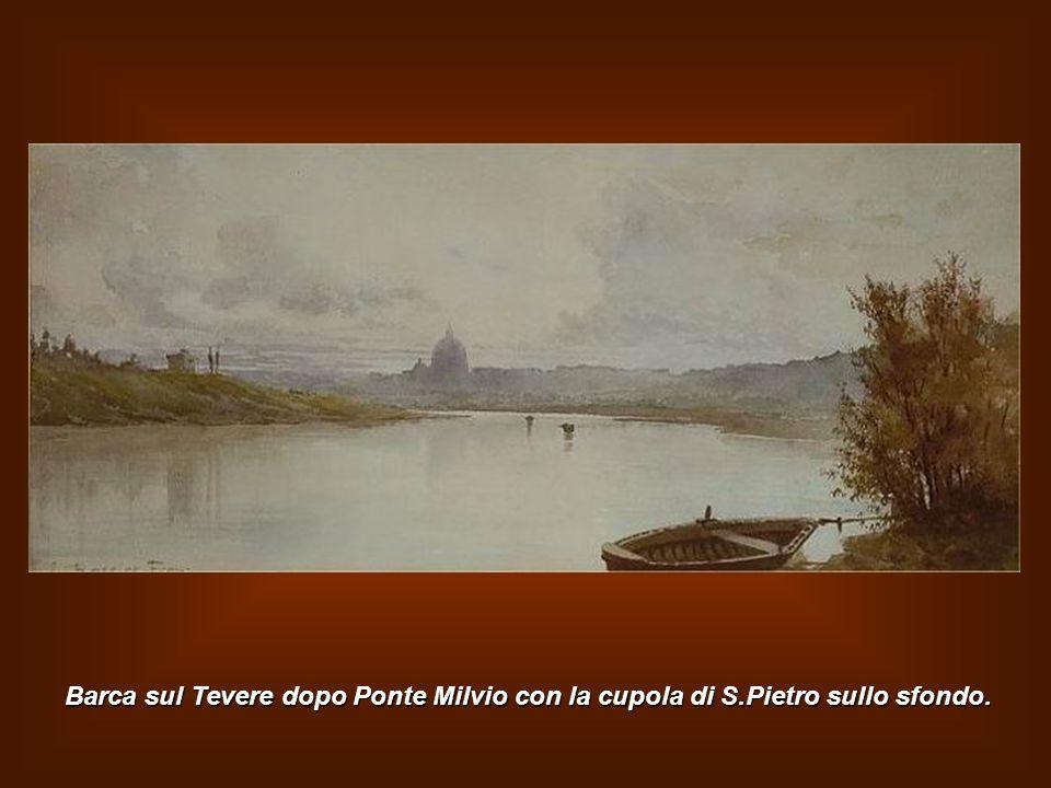 Barca sul Tevere dopo Ponte Milvio con la cupola di S