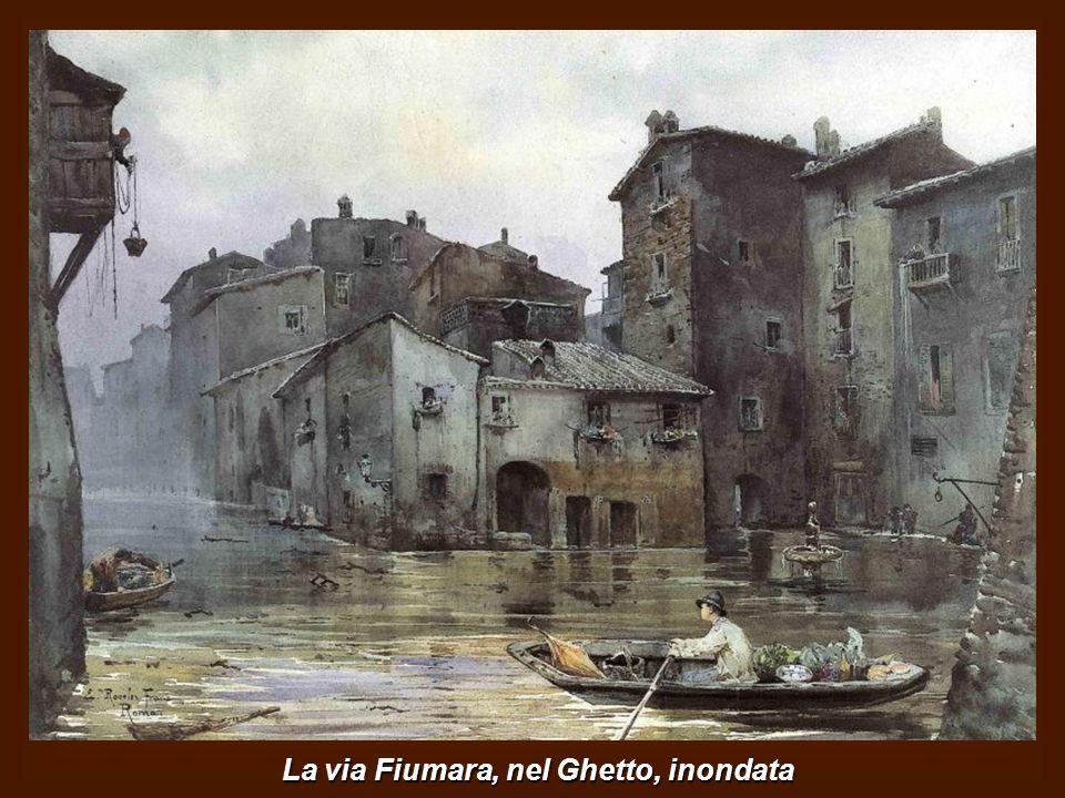 La via Fiumara, nel Ghetto, inondata