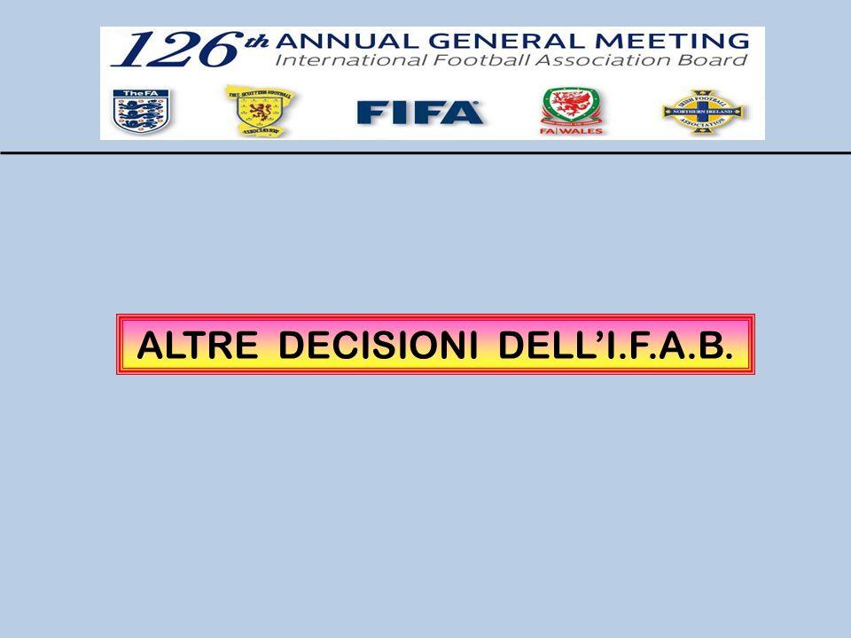 ALTRE DECISIONI DELL'I.F.A.B.