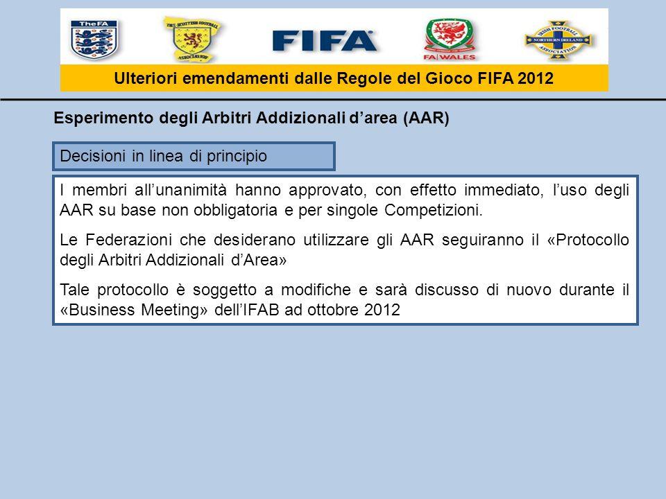 Ulteriori emendamenti dalle Regole del Gioco FIFA 2012