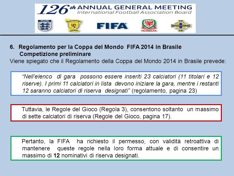Regolamento per la Coppa del Mondo FIFA 2014 in Brasile