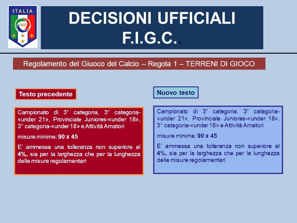 DECISIONI UFFICIALI F.I.G.C..