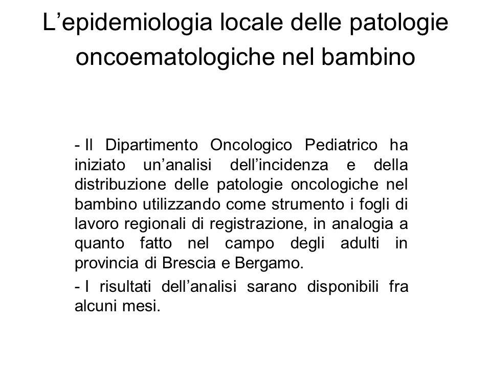 L'epidemiologia locale delle patologie oncoematologiche nel bambino
