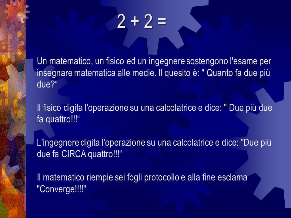 2 + 2 = Un matematico, un fisico ed un ingegnere sostengono l esame per insegnare matematica alle medie. Il quesito è: Quanto fa due più due