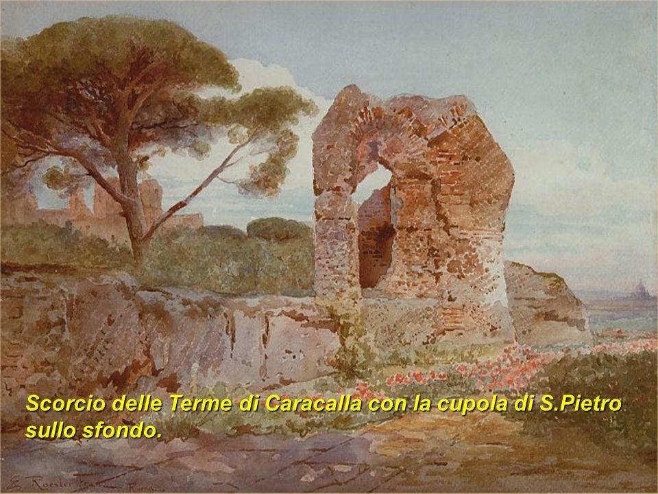 Scorcio delle Terme di Caracalla con la cupola di S