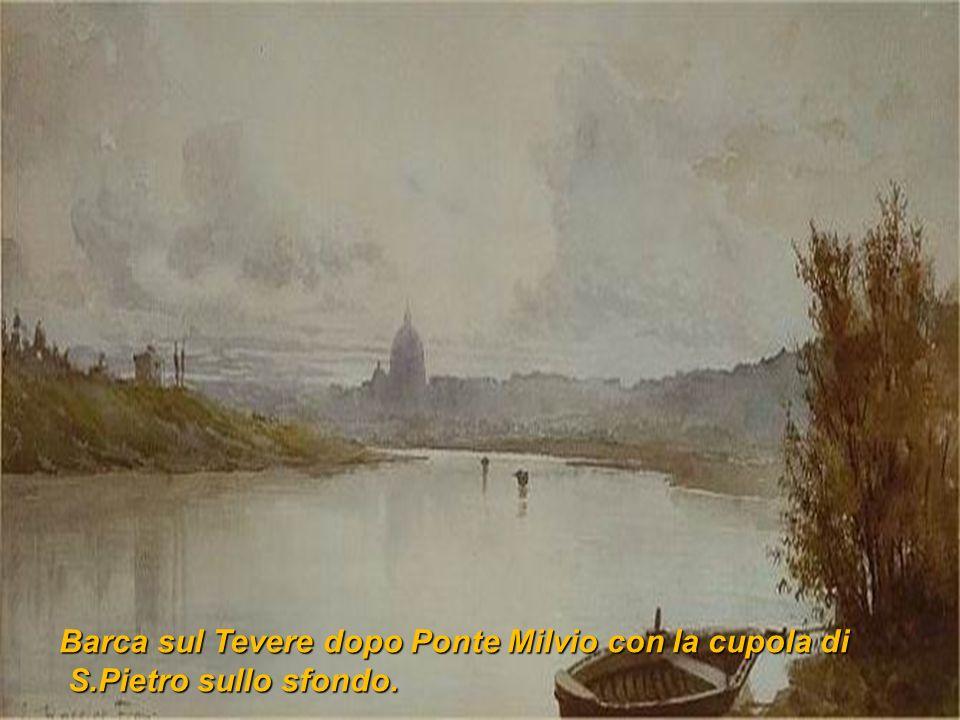 Barca sul Tevere dopo Ponte Milvio con la cupola di