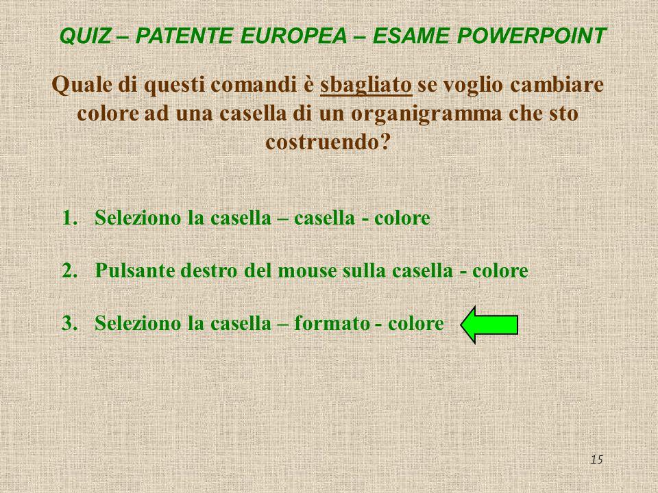 Quale di questi comandi è sbagliato se voglio cambiare colore ad una casella di un organigramma che sto costruendo