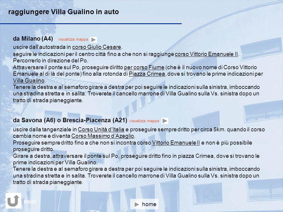 raggiungere Villa Gualino in auto