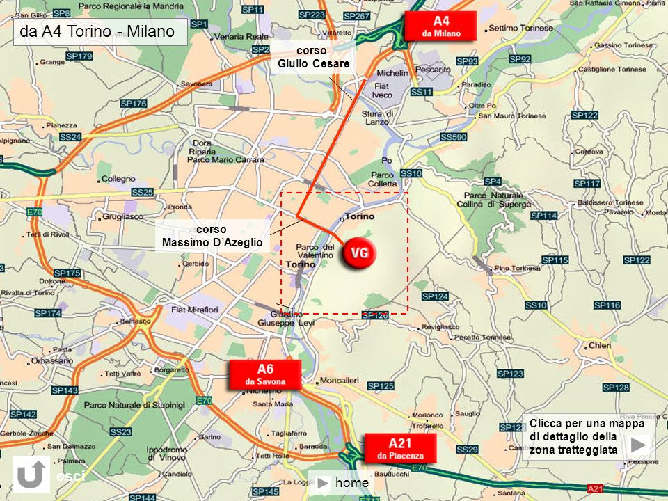 da A4 Torino - Milano esci home corso Giulio Cesare corso