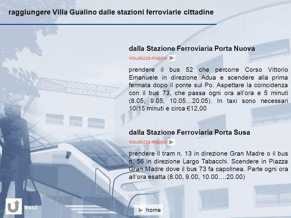 raggiungere Villa Gualino dalle stazioni ferroviarie cittadine