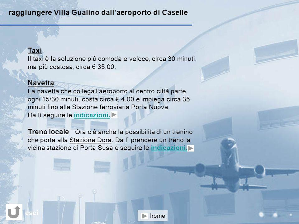 raggiungere Villa Gualino dall'aeroporto di Caselle