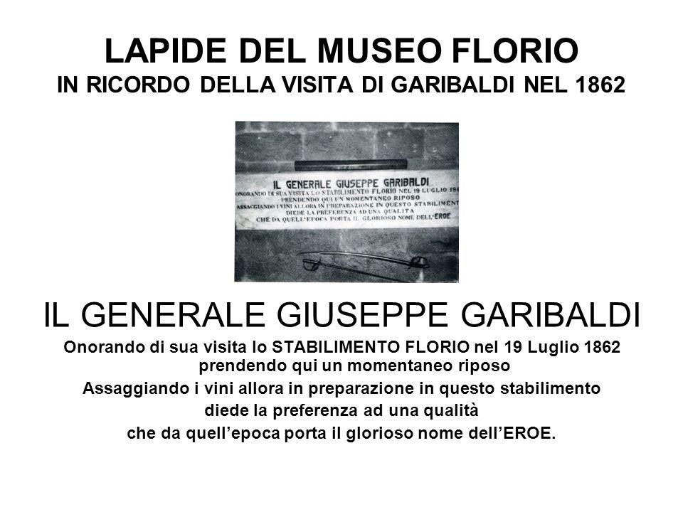 LAPIDE DEL MUSEO FLORIO IN RICORDO DELLA VISITA DI GARIBALDI NEL 1862
