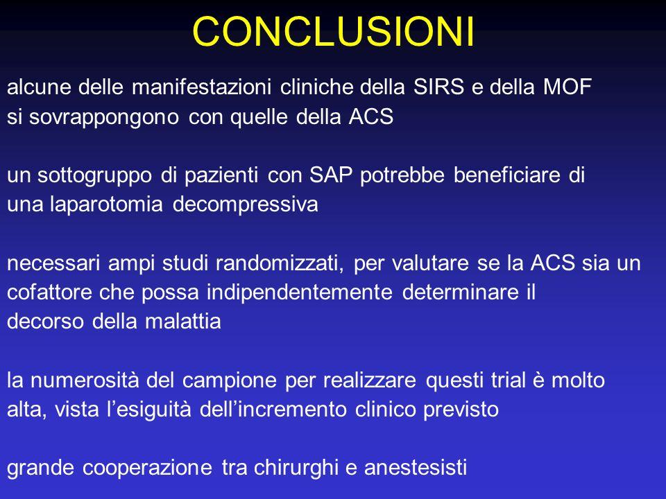 CONCLUSIONI alcune delle manifestazioni cliniche della SIRS e della MOF. si sovrappongono con quelle della ACS.