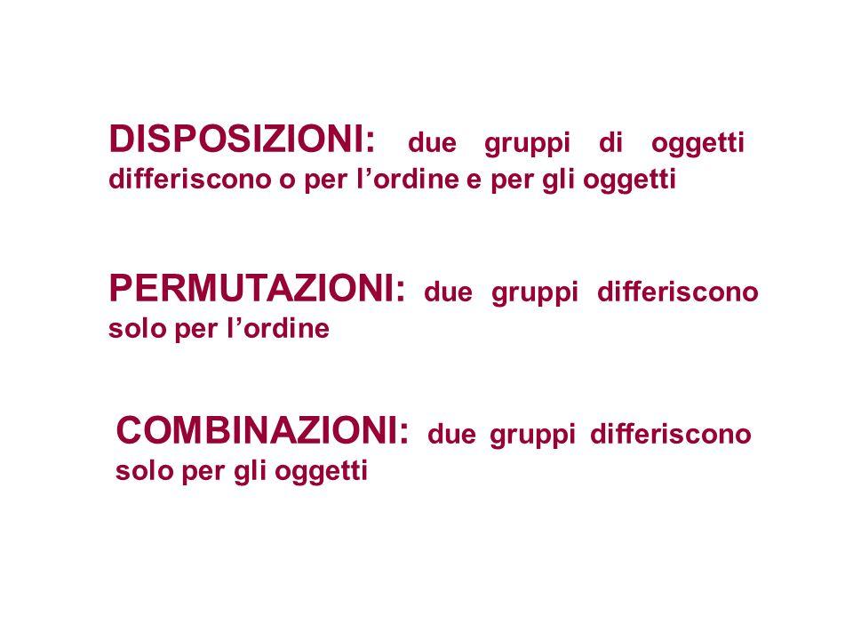 DISPOSIZIONI: due gruppi di oggetti differiscono o per l'ordine e per gli oggetti