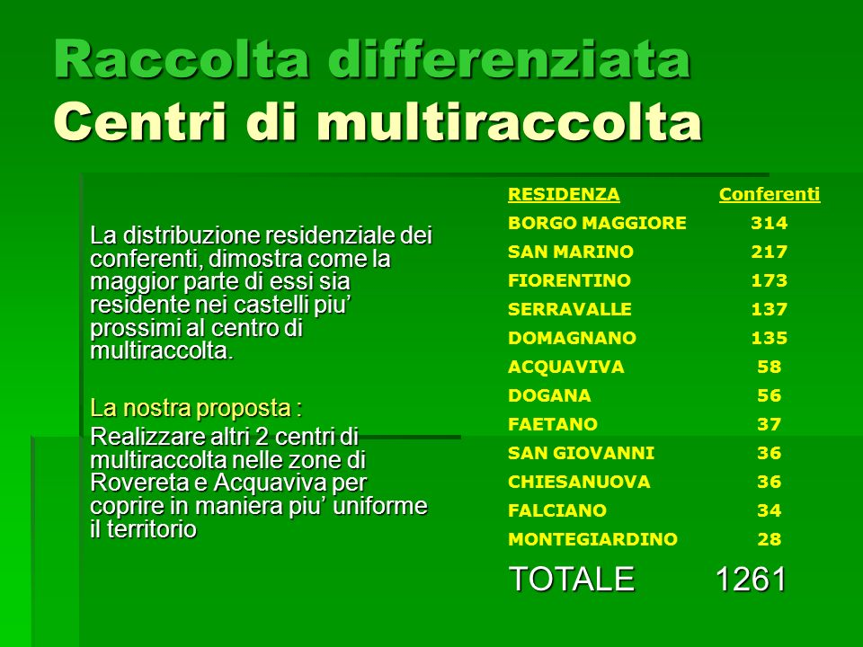 Raccolta differenziata Centri di multiraccolta