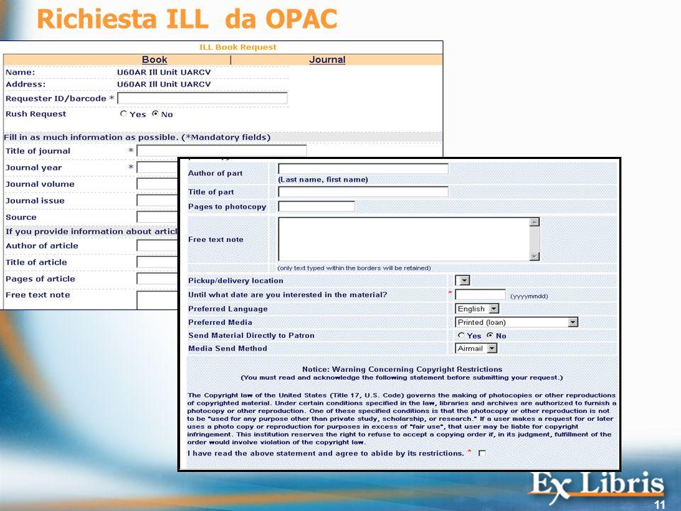 Richiesta ILL da OPAC