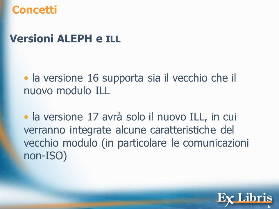 Concetti Versioni ALEPH e ILL. la versione 16 supporta sia il vecchio che il nuovo modulo ILL.