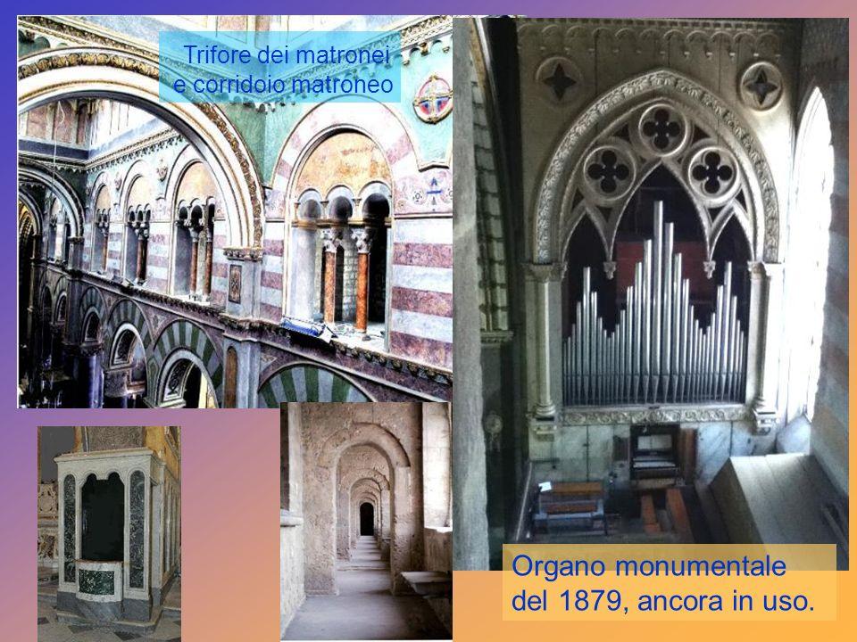 Trifore dei matronei Organo monumentale del 1879, ancora in uso.