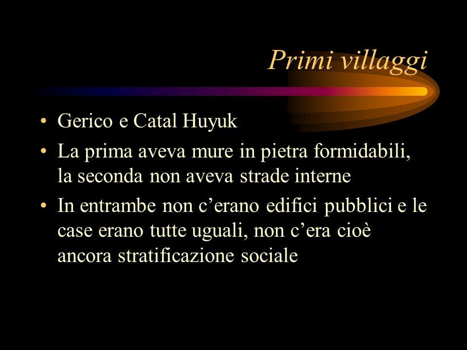 Primi villaggi Gerico e Catal Huyuk