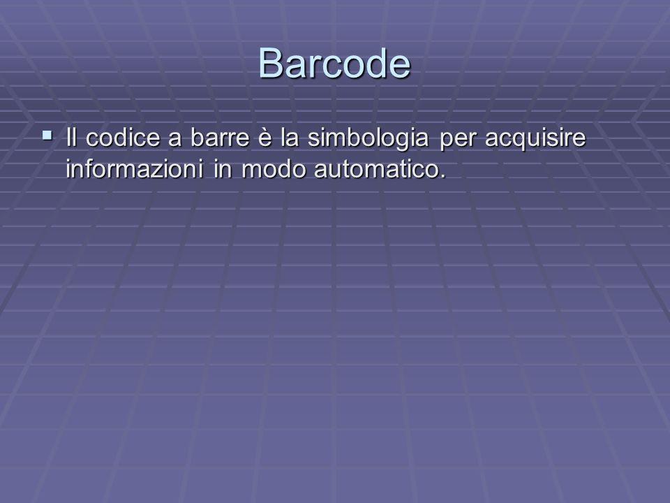 Barcode Il codice a barre è la simbologia per acquisire informazioni in modo automatico.