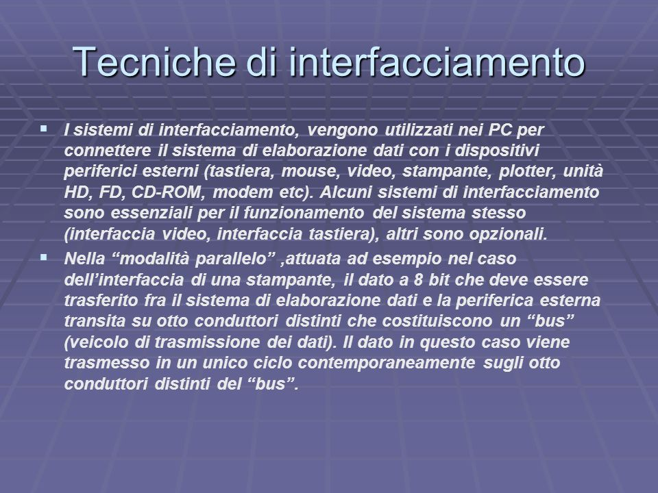 Tecniche di interfacciamento