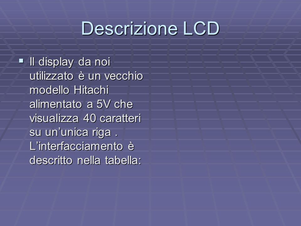 Descrizione LCD