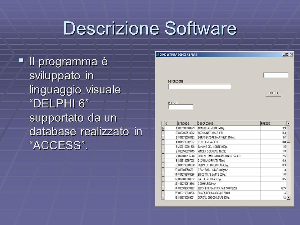 Descrizione Software Il programma è sviluppato in linguaggio visuale DELPHI 6 supportato da un database realizzato in ACCESS .