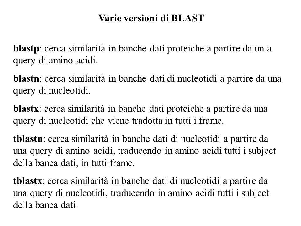 Varie versioni di BLAST