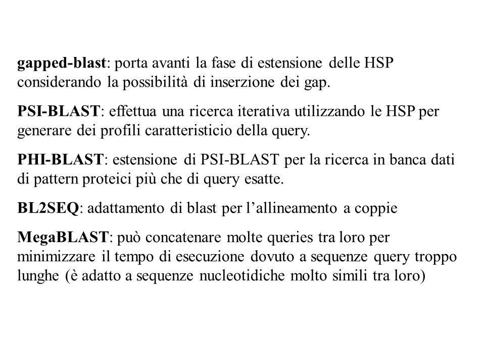 gapped-blast: porta avanti la fase di estensione delle HSP considerando la possibilità di inserzione dei gap.