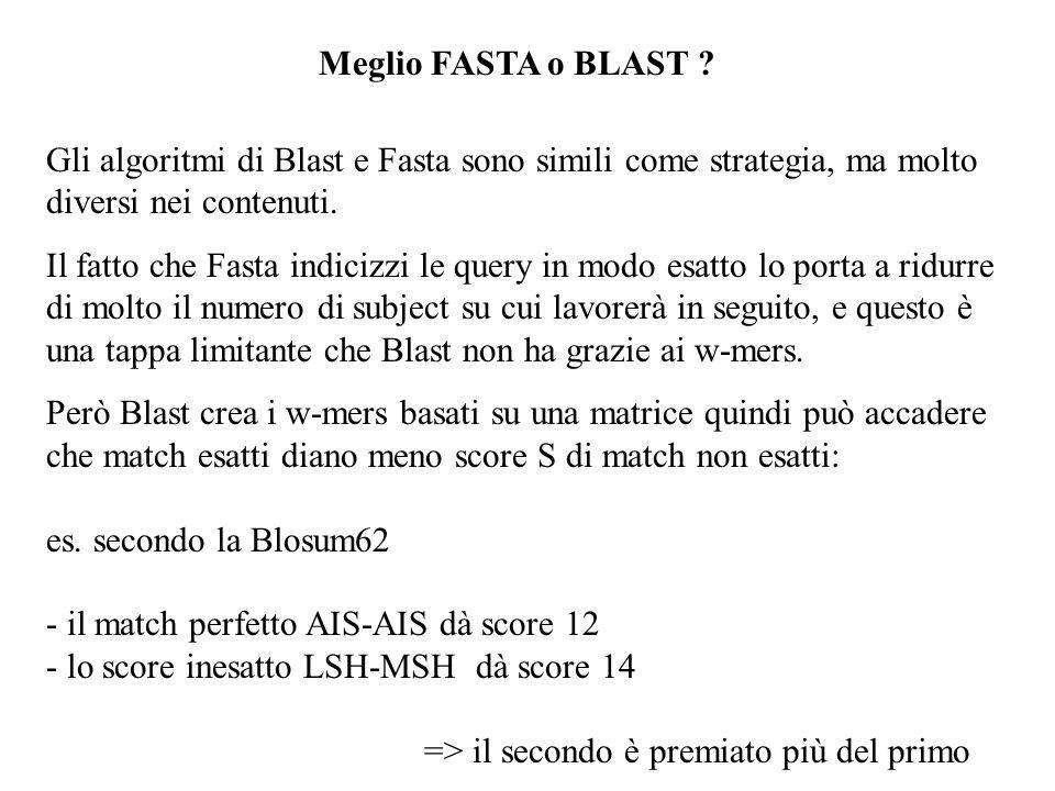 Meglio FASTA o BLAST Gli algoritmi di Blast e Fasta sono simili come strategia, ma molto diversi nei contenuti.