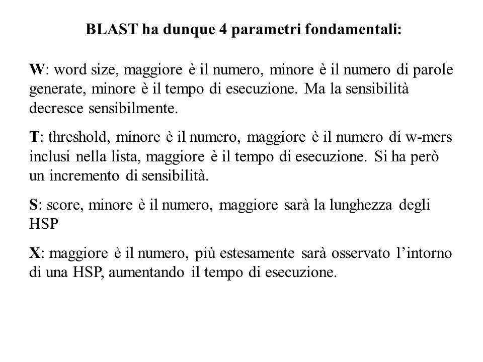BLAST ha dunque 4 parametri fondamentali:
