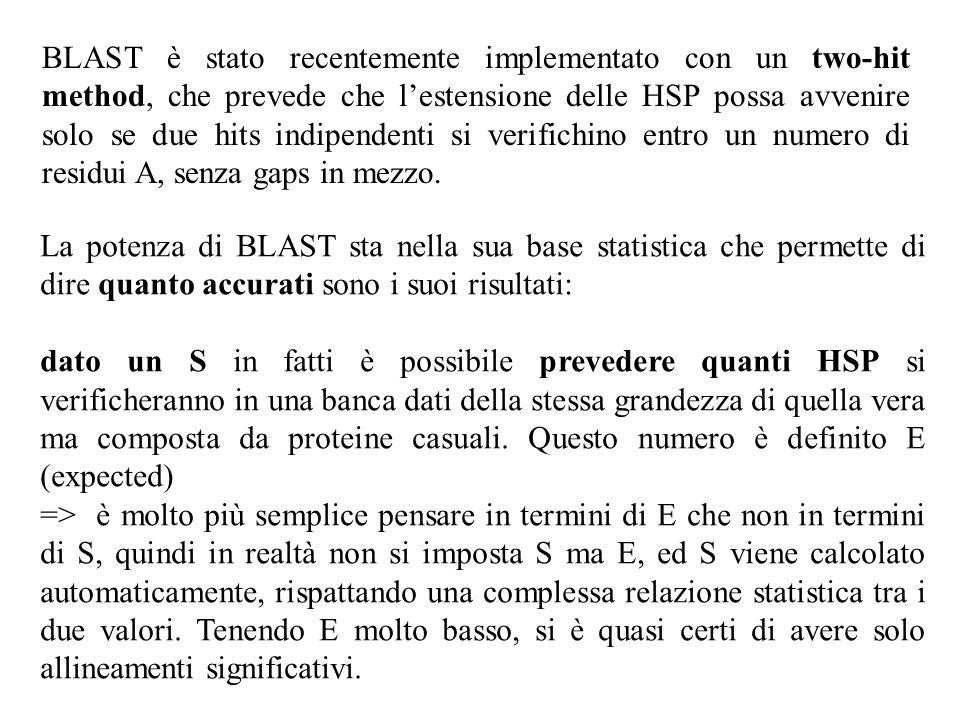 BLAST è stato recentemente implementato con un two-hit method, che prevede che l'estensione delle HSP possa avvenire solo se due hits indipendenti si verifichino entro un numero di residui A, senza gaps in mezzo.