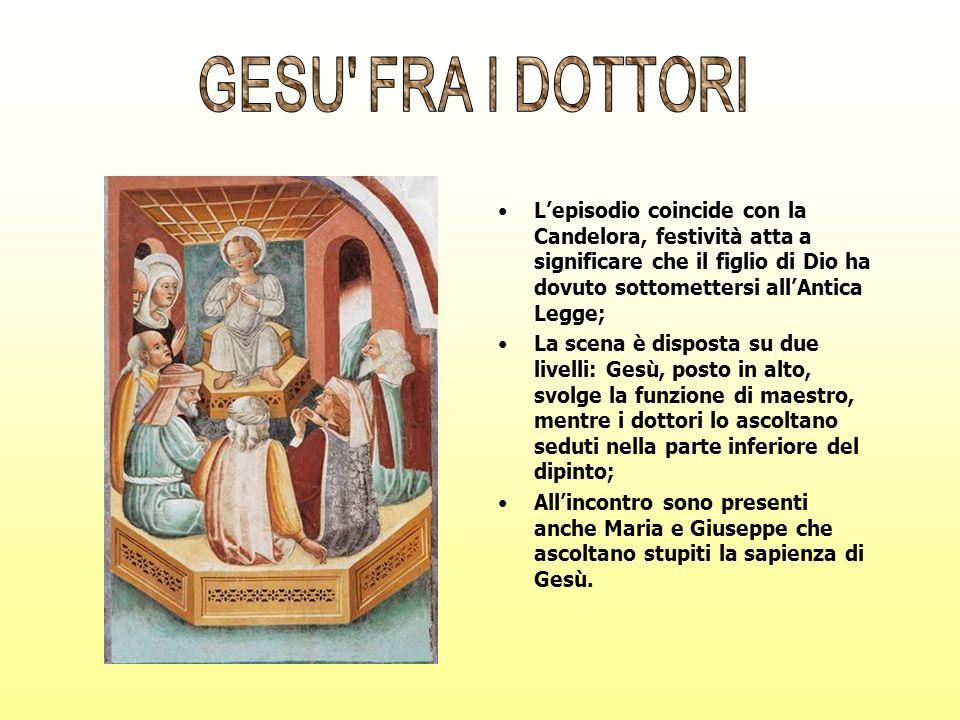 GESU FRA I DOTTORI L'episodio coincide con la Candelora, festività atta a significare che il figlio di Dio ha dovuto sottomettersi all'Antica Legge;
