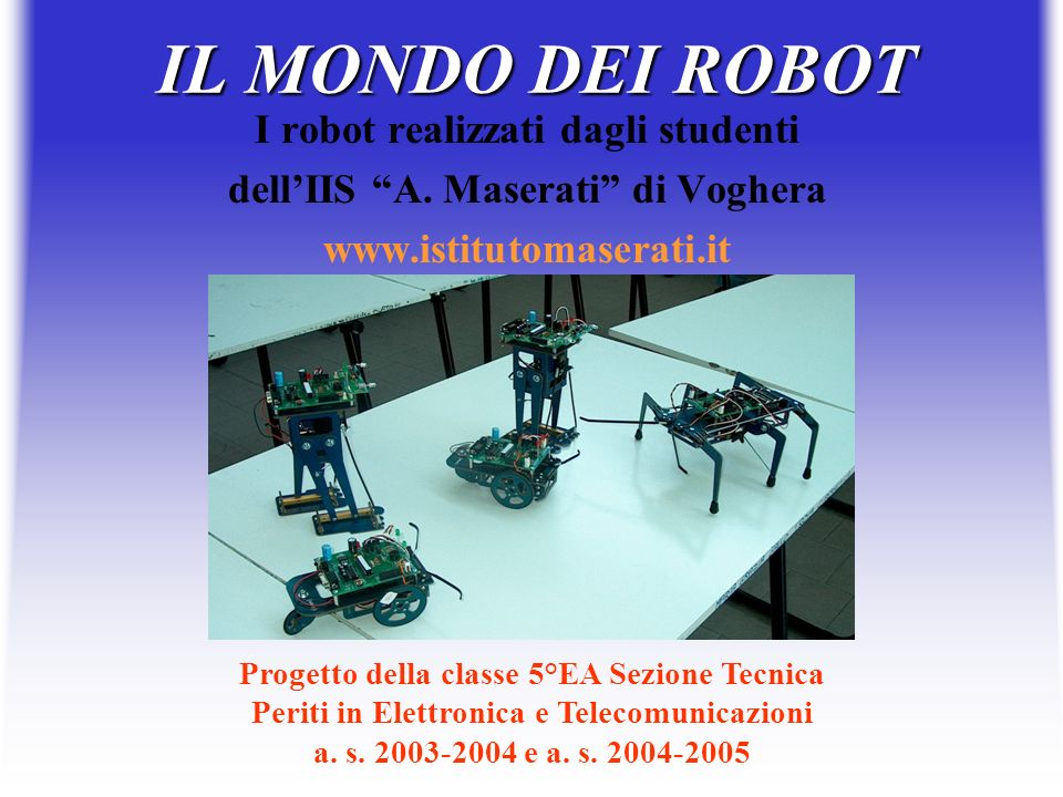 IL MONDO DEI ROBOT I robot realizzati dagli studenti