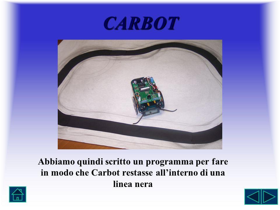 CARBOT Abbiamo quindi scritto un programma per fare in modo che Carbot restasse all'interno di una linea nera.