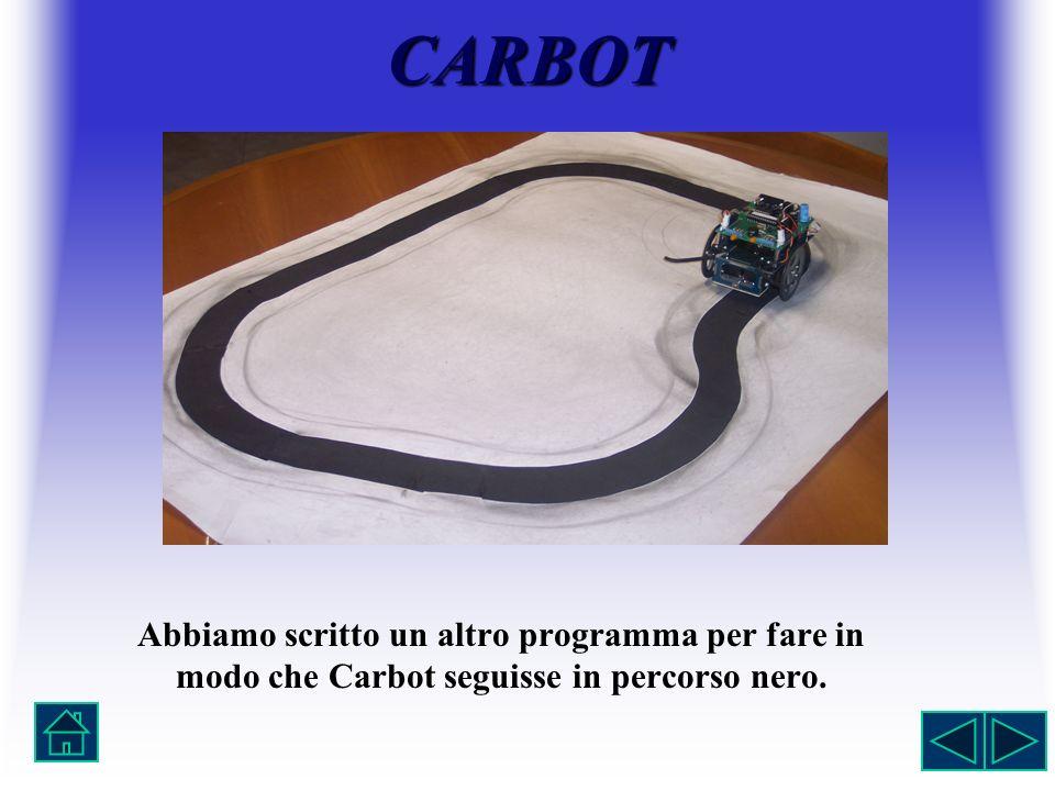 CARBOT Abbiamo scritto un altro programma per fare in modo che Carbot seguisse in percorso nero.