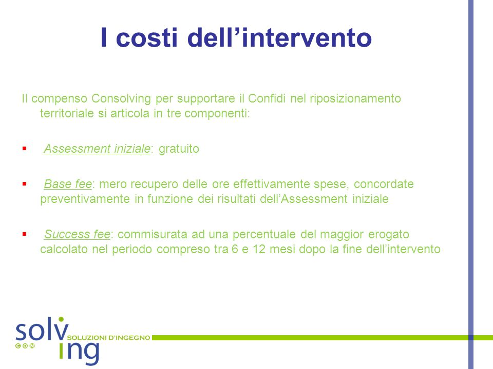 I costi dell'intervento