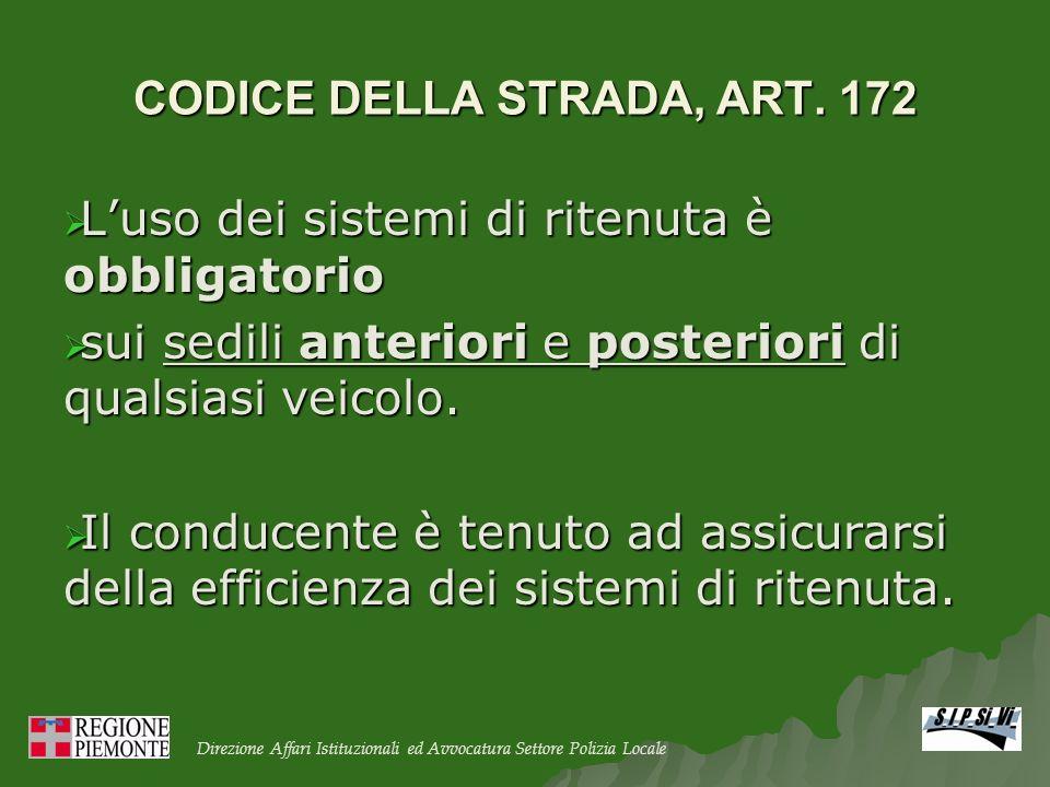 CODICE DELLA STRADA, ART. 172