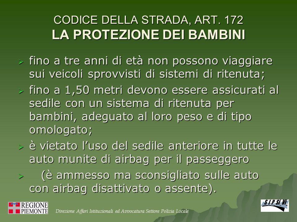 CODICE DELLA STRADA, ART. 172 LA PROTEZIONE DEI BAMBINI