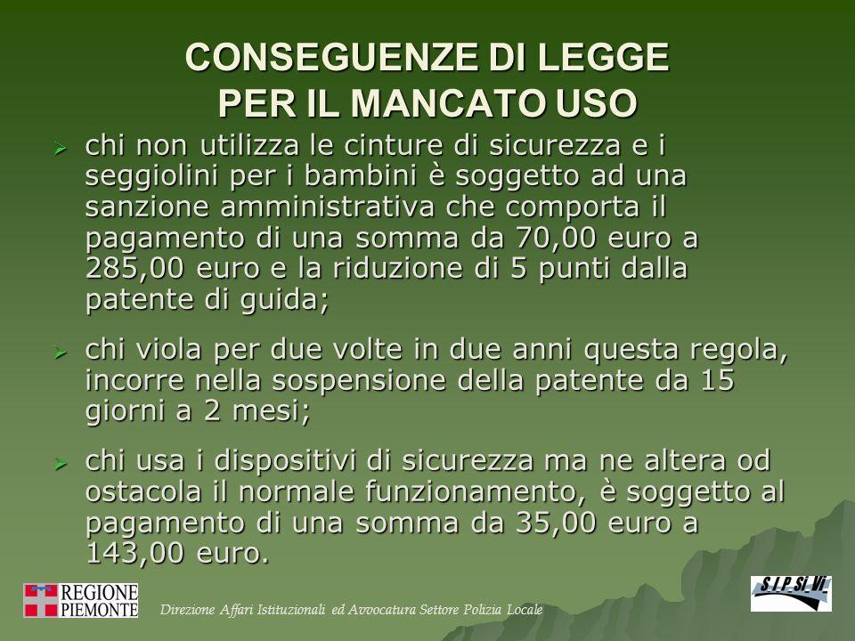 CONSEGUENZE DI LEGGE PER IL MANCATO USO